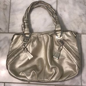 B. Makowsky Leather Hobo Purse - Gold